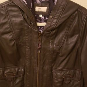 JUNE brand chocolate brown hooded leather jacket